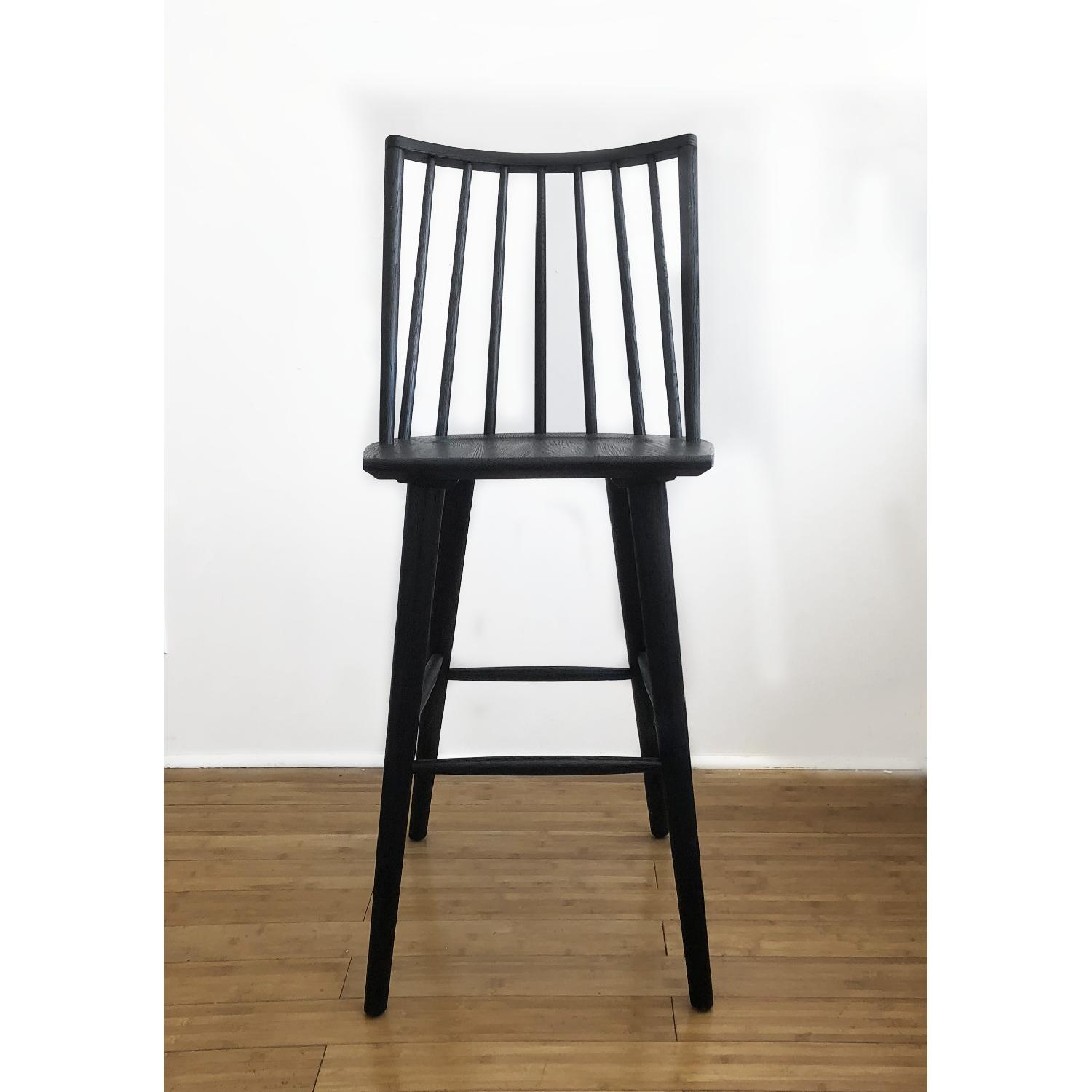 Crate & Barrel Modern Black Oak Windsor Bar Stool - image-4