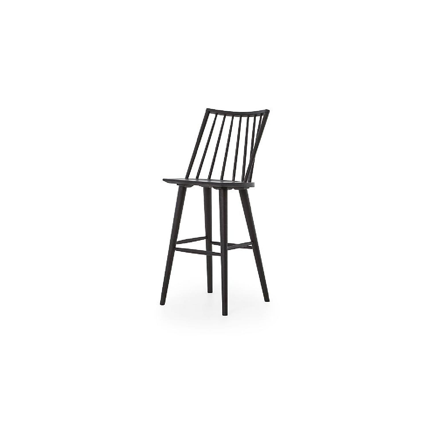 Crate & Barrel Modern Black Oak Windsor Bar Stool - image-0