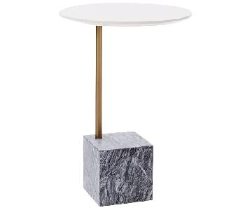 West Elm Cube C-Side Table in White/Gray Marble