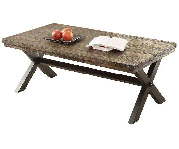 Dark Brown Wood Top Coffee Table w/ Metal X Legs