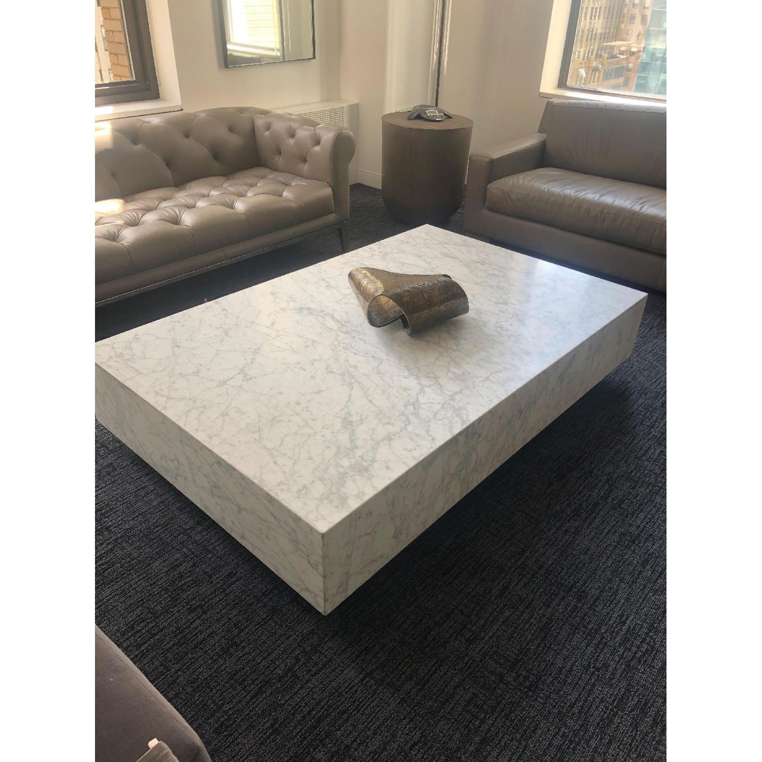 Restoration Hardware Plinth White Marble Coffee Table - image-0