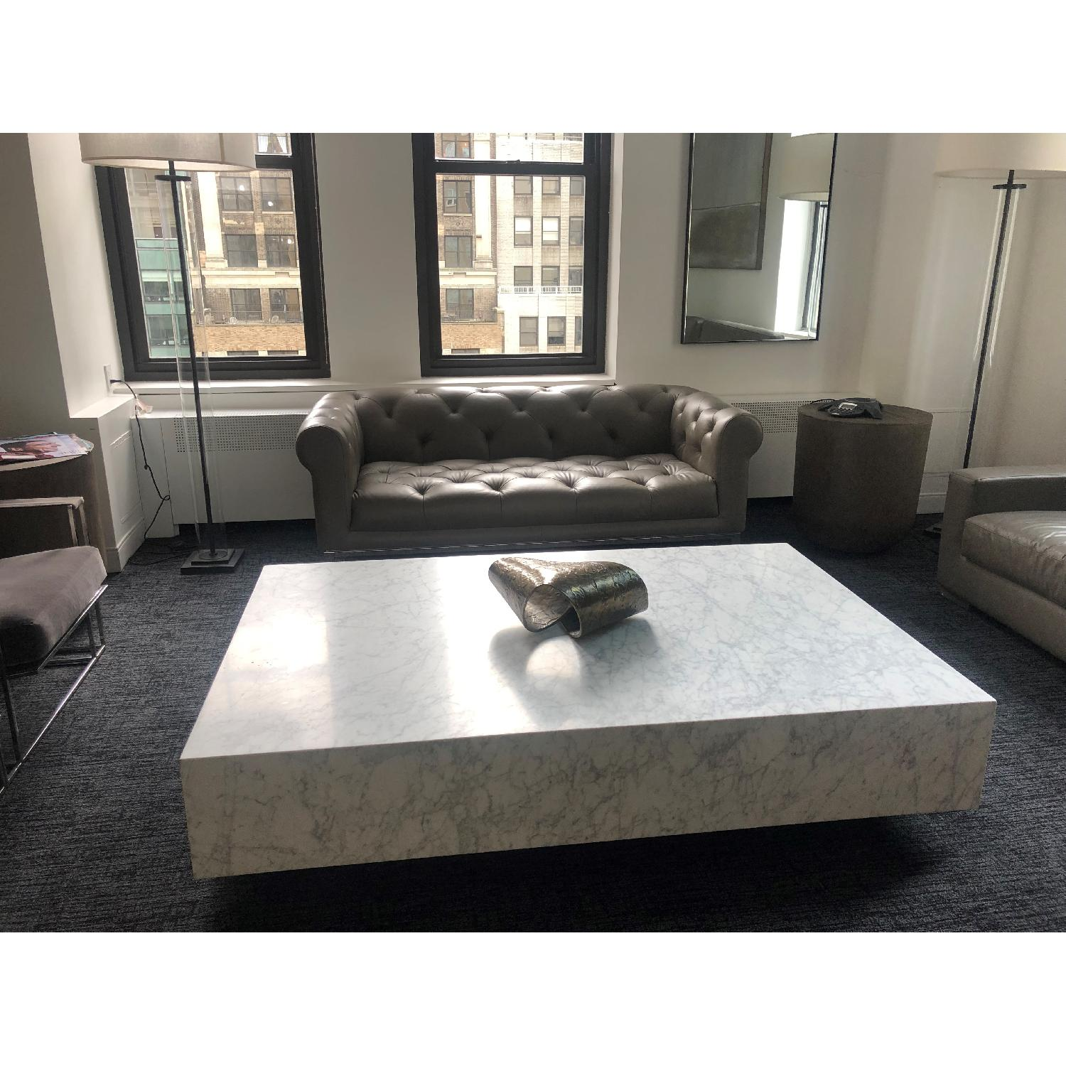 Restoration Hardware Plinth White Marble Coffee Table - image-1