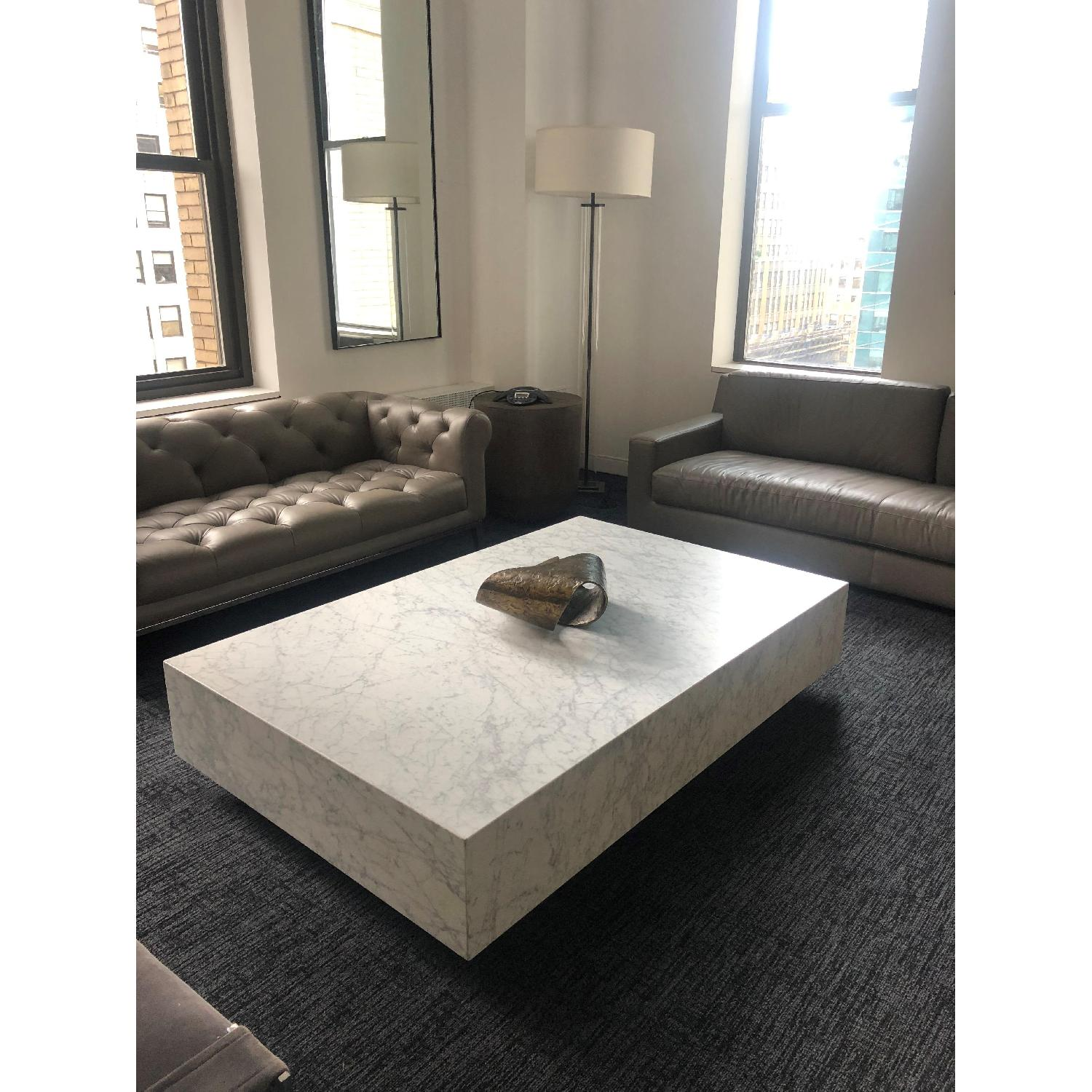 Restoration Hardware Plinth White Marble Coffee Table - image-2