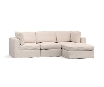 Pottery Barn Square Arm Slipcovered 4 Piece Sectional Sofa