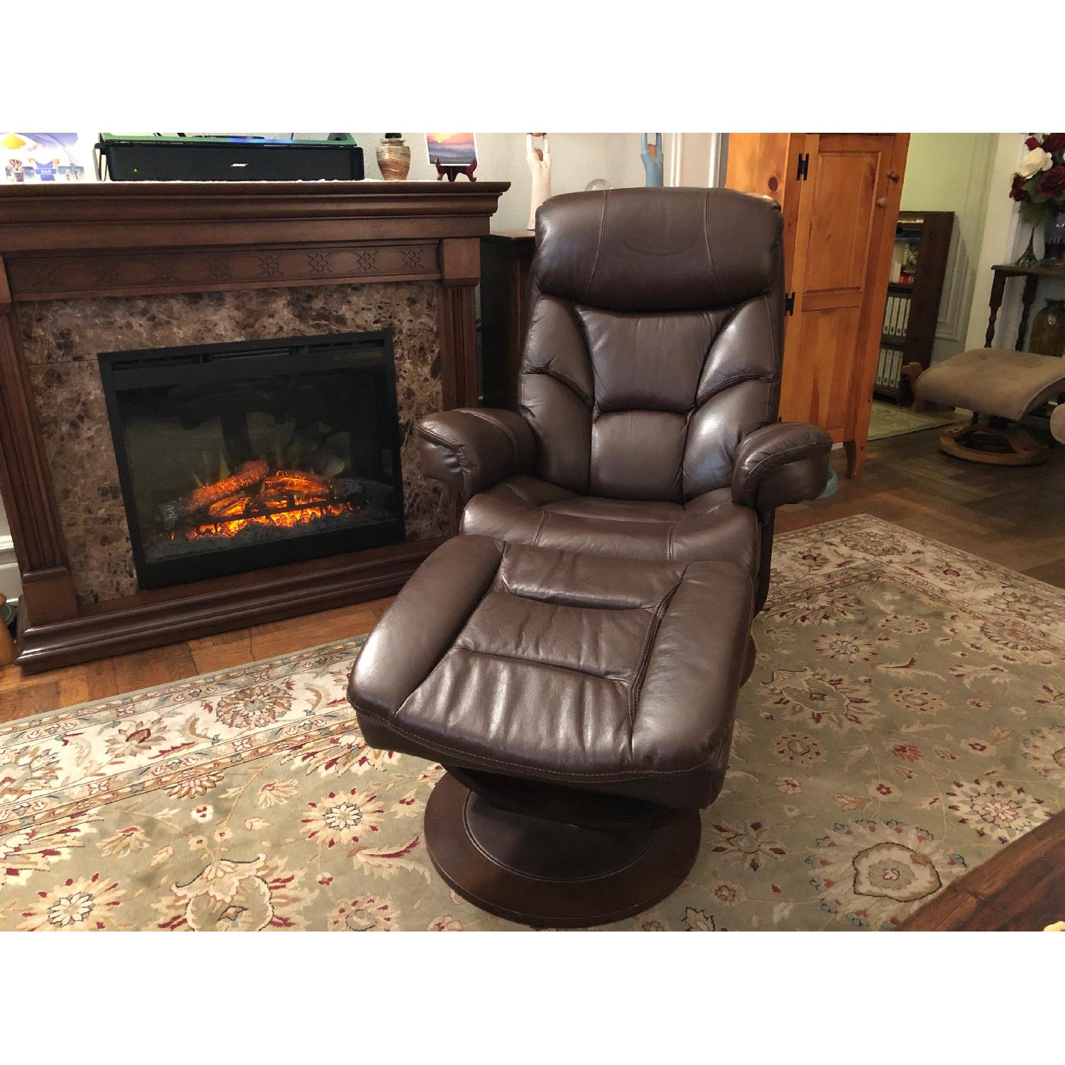 Macy's Leather Euro Chair & Ottoman - image-1