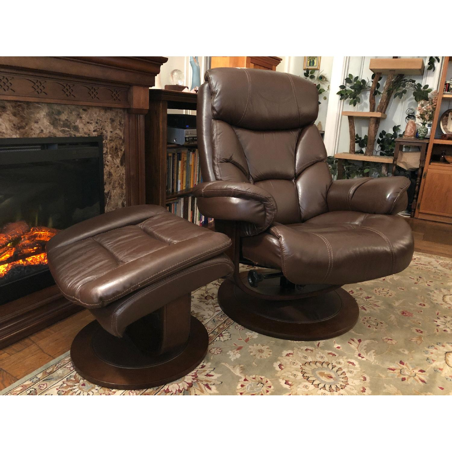Macy's Leather Euro Chair & Ottoman - image-2