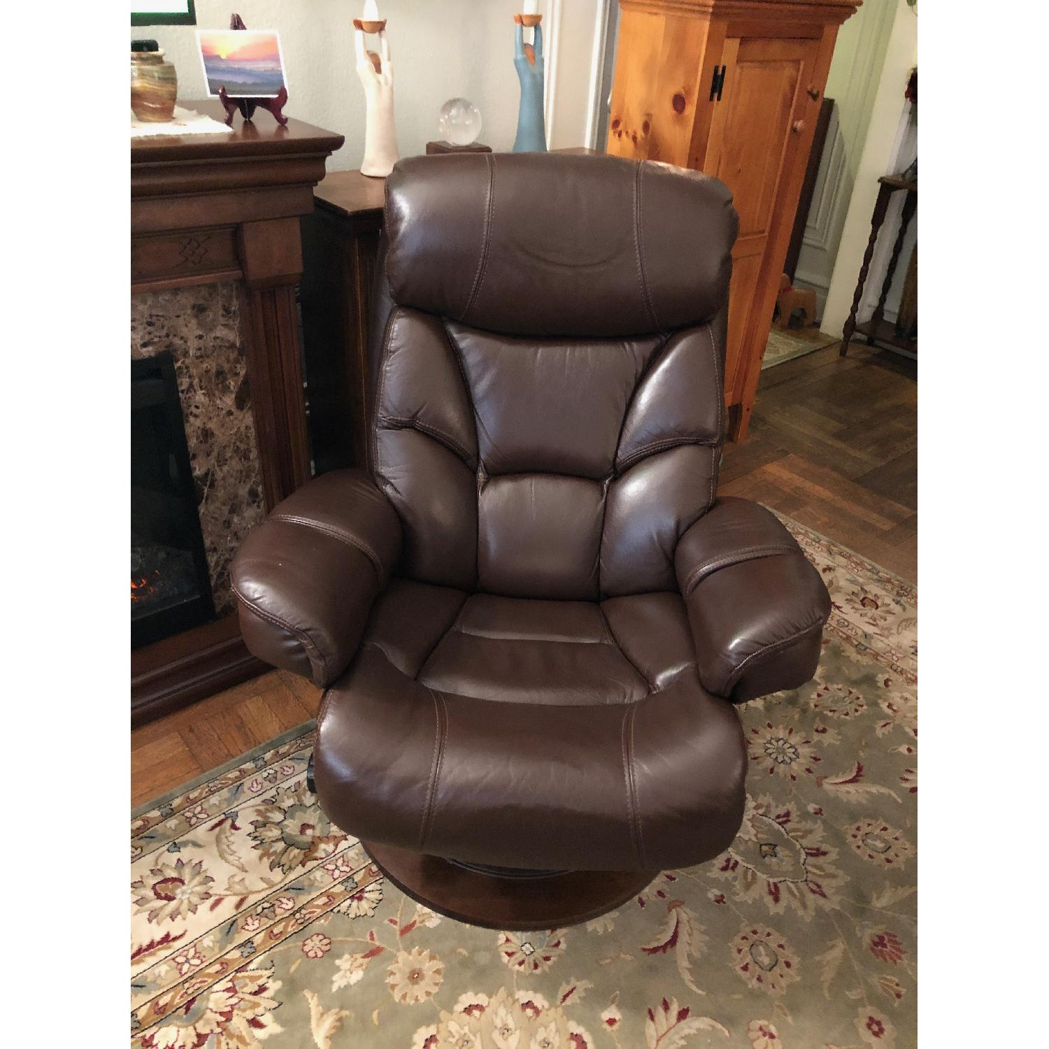Macy's Leather Euro Chair & Ottoman - image-3