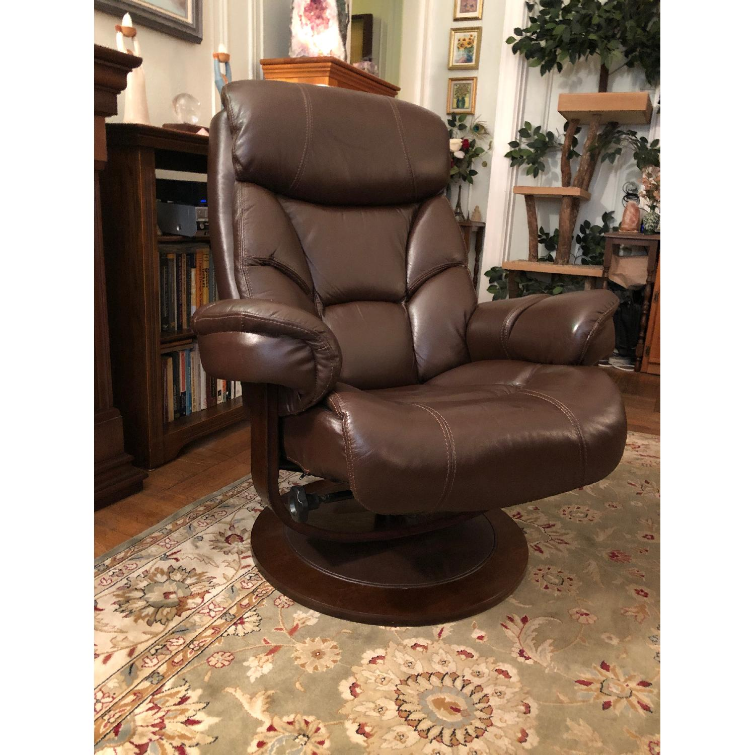 Macy's Leather Euro Chair & Ottoman - image-4