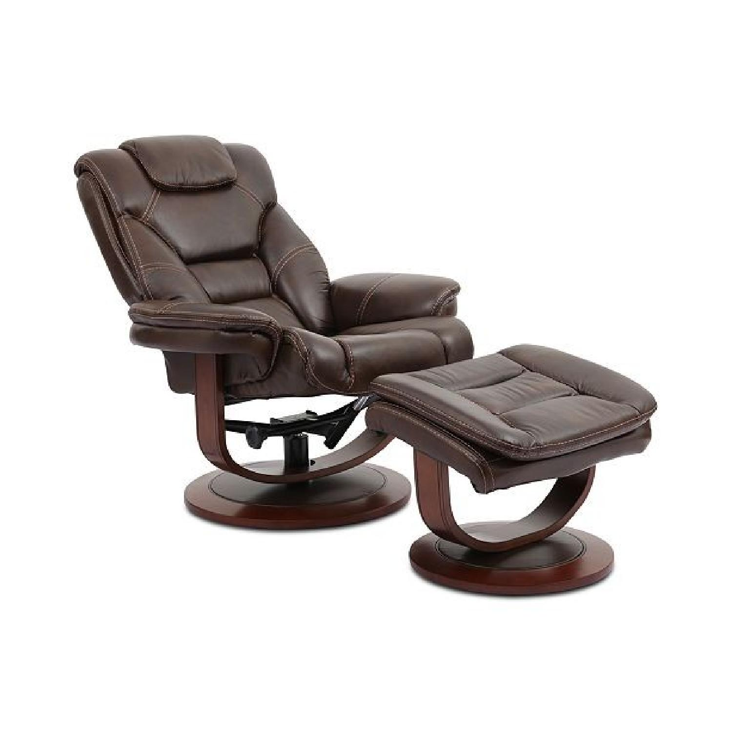 Macy's Leather Euro Chair & Ottoman - image-0