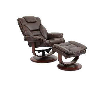 Macy's Leather Euro Chair & Ottoman
