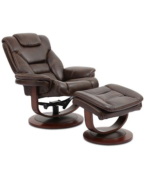 Macy's Leather Euro Chair & Ottoman