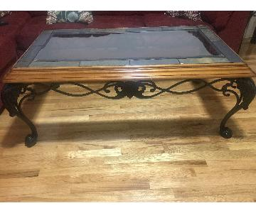 American Furniture Glass Top Coffee Table + Side Table
