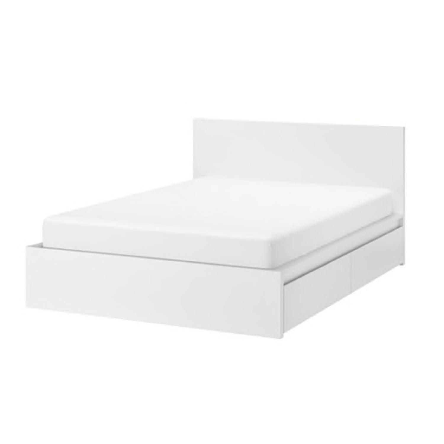 Ikea Malm White Full High Bed Frame w/ 4 Storage Boxes - image-0