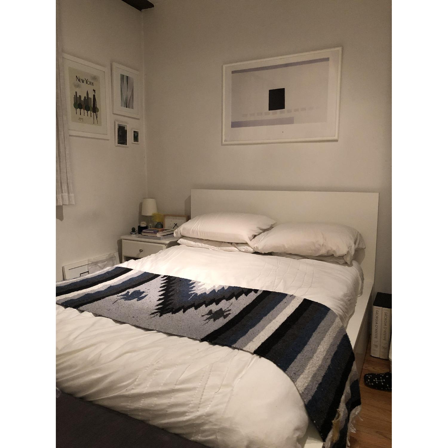 Ikea Malm White Full High Bed Frame w/ 4 Storage Boxes - image-1