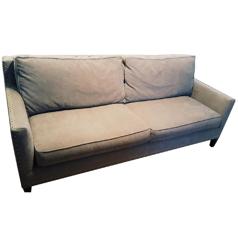 Paladin Dove Grey Down Nailhead Sofa - image-0