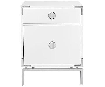 West Elm Malone Campaign Nightstand in White Lacquer