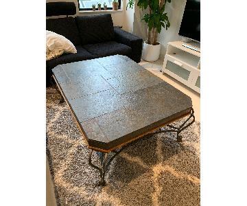 Stone Tile Top Coffee Table w/ Metal Legs & Wood Trim