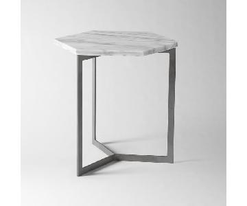 West Elm Hex Side Table in White Marble/Raw Steel