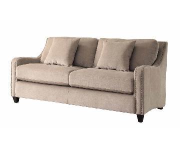 Jennifer Furniture Natural Nailhead Studded Sofa