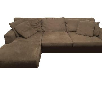 Natural Beige Suede 2 Piece Sectional Sofa