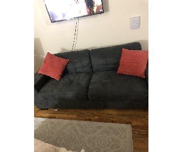 Crate & Barrel Grey Suede Sofa