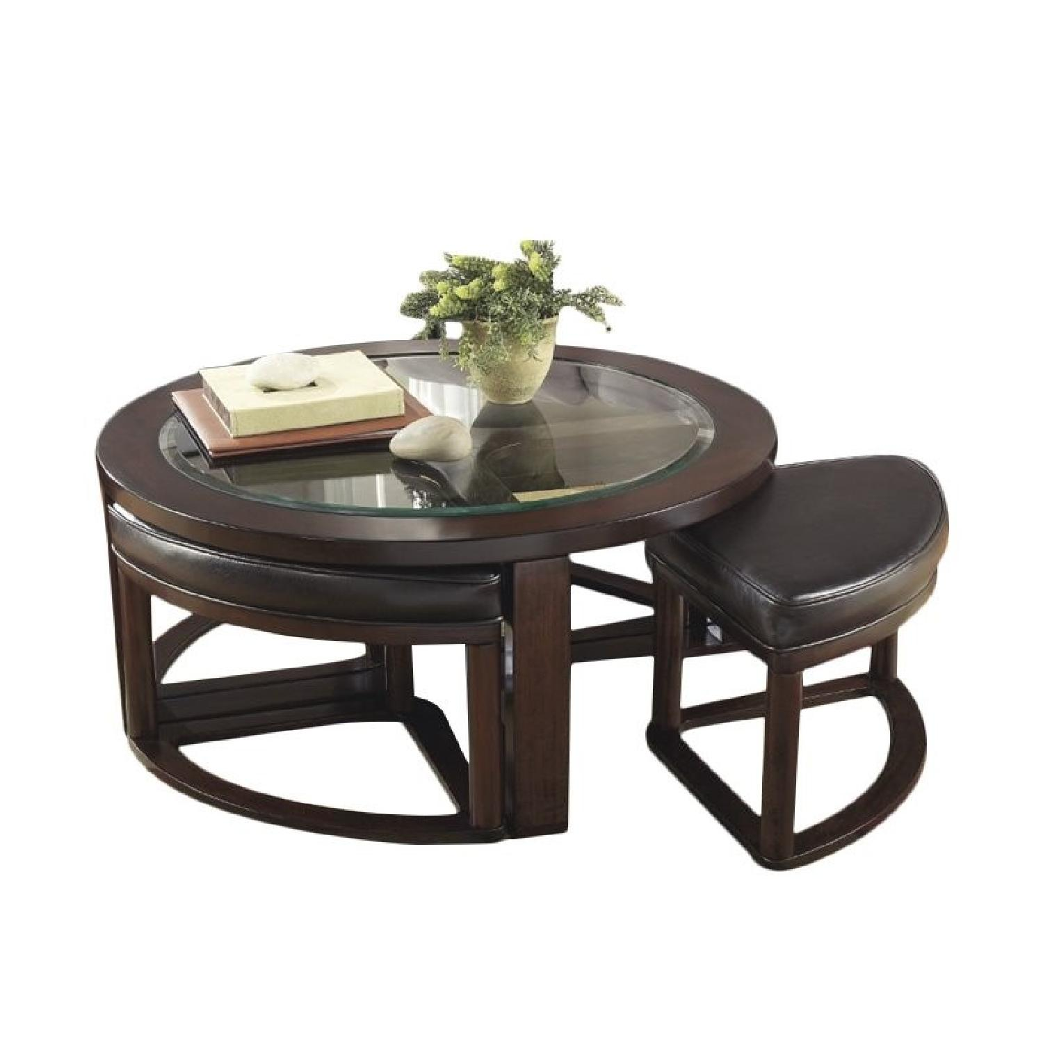 Ashley Wood & Glass Coffee Table w/ 4 Nesting Stools - image-0