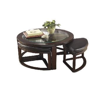 Ashley Wood & Glass Coffee Table w/ 4 Nesting Stools
