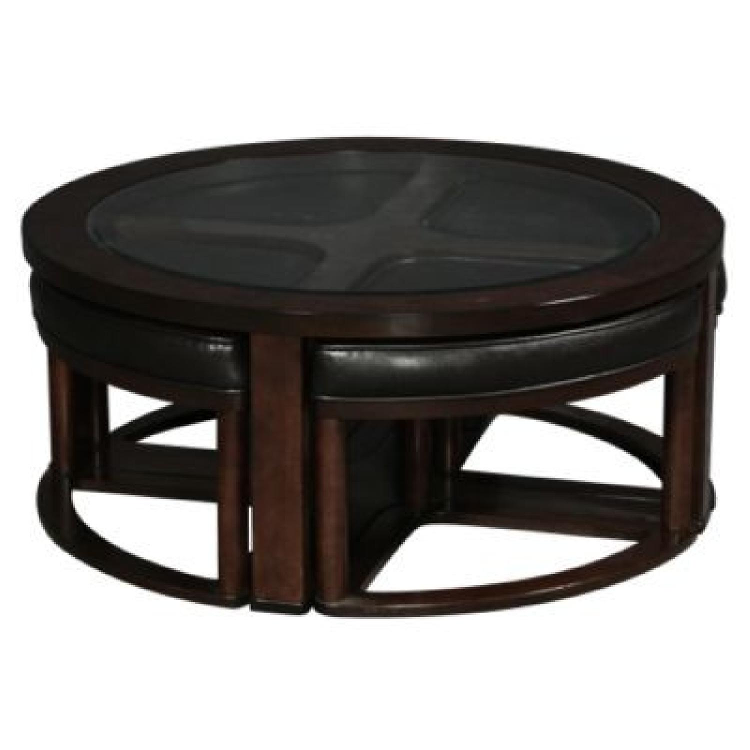 Ashley Wood & Glass Coffee Table w/ 4 Nesting Stools - image-1