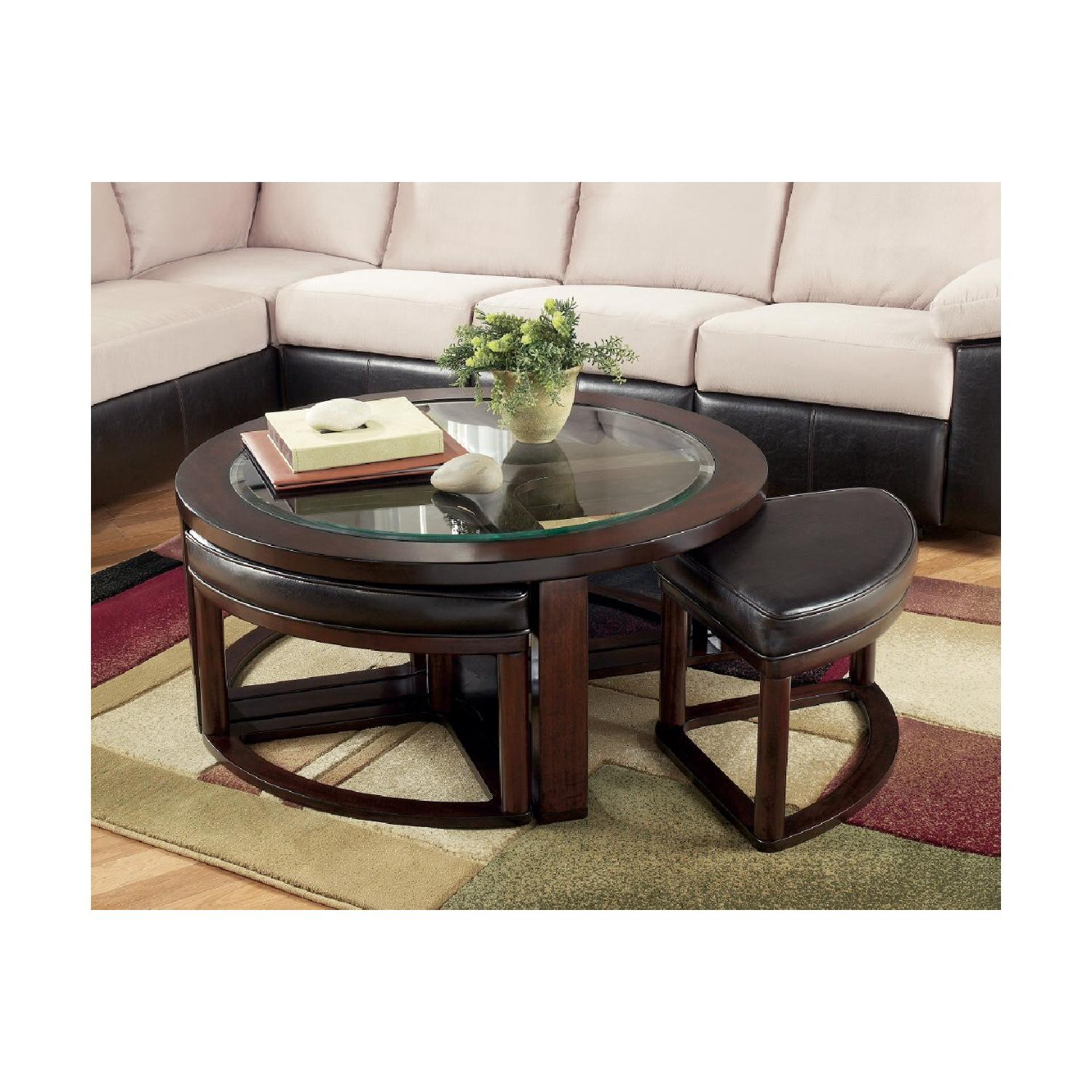 Ashley Wood & Glass Coffee Table w/ 4 Nesting Stools - image-2