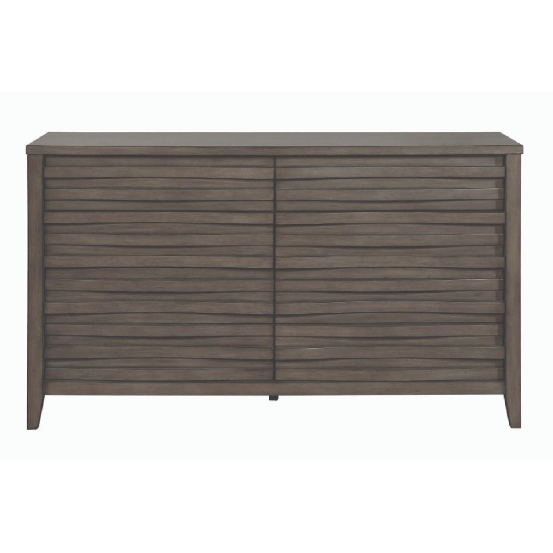 Modern Dresser in Dark Taupe w/ Wave-Like Drawer Face - image-0