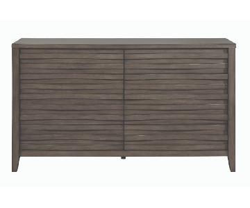 Modern Dresser in Dark Taupe w/ Wave-Like Drawer Face