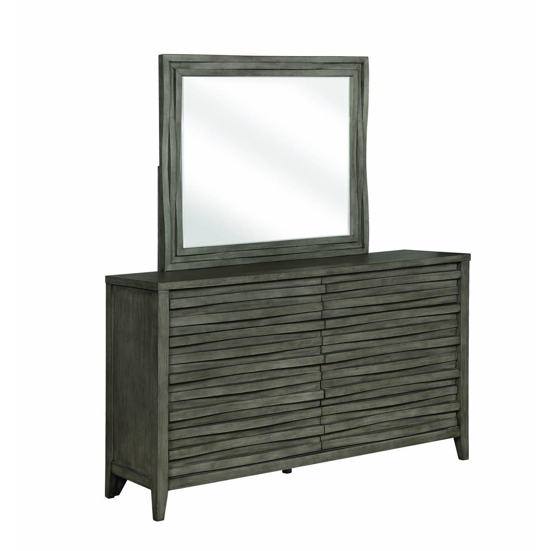 Modern Dresser in Dark Taupe w/ Wave-Like Drawer Face - image-4