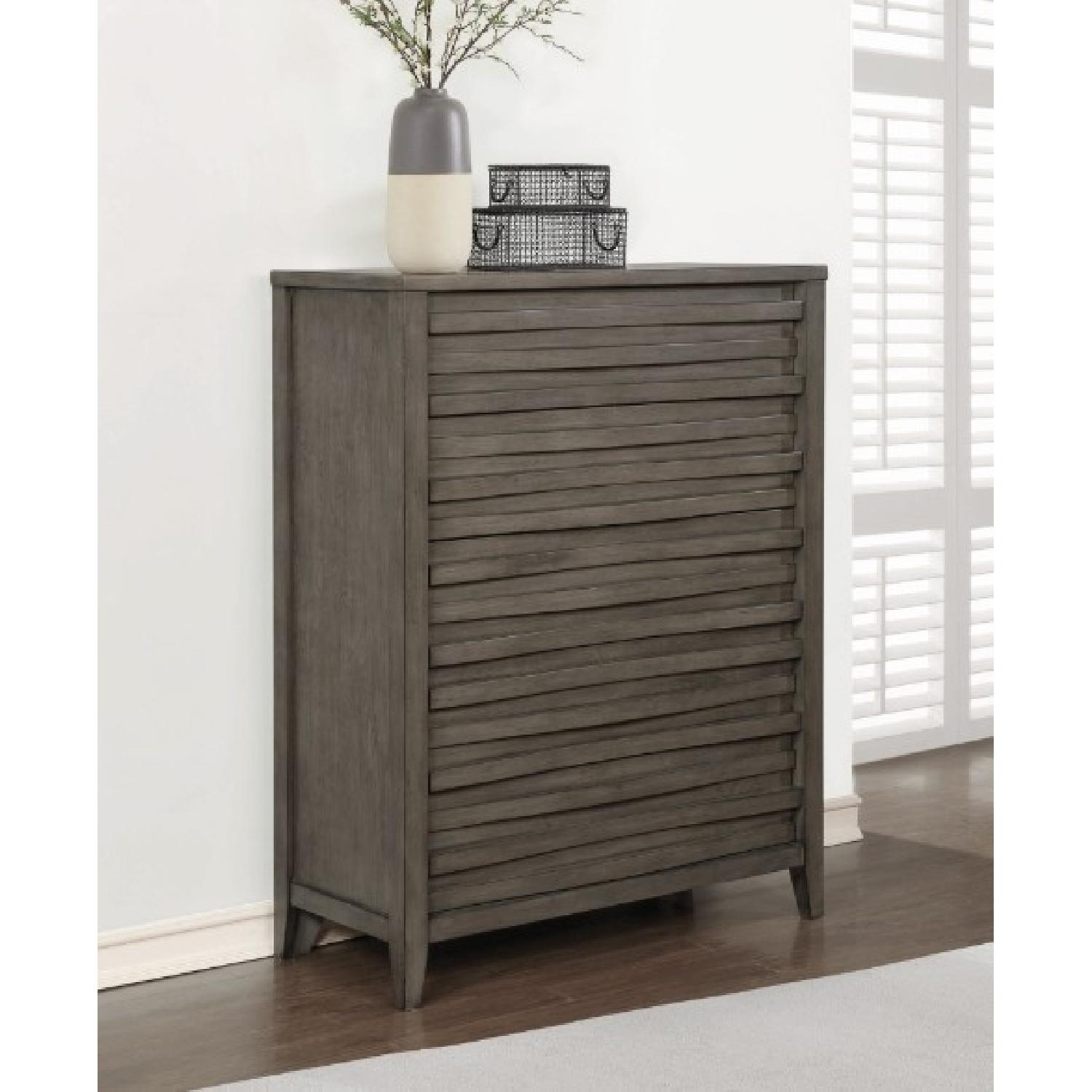 Modern Chest in Dark Taupe w/ Wave-Like Drawer Face - image-2
