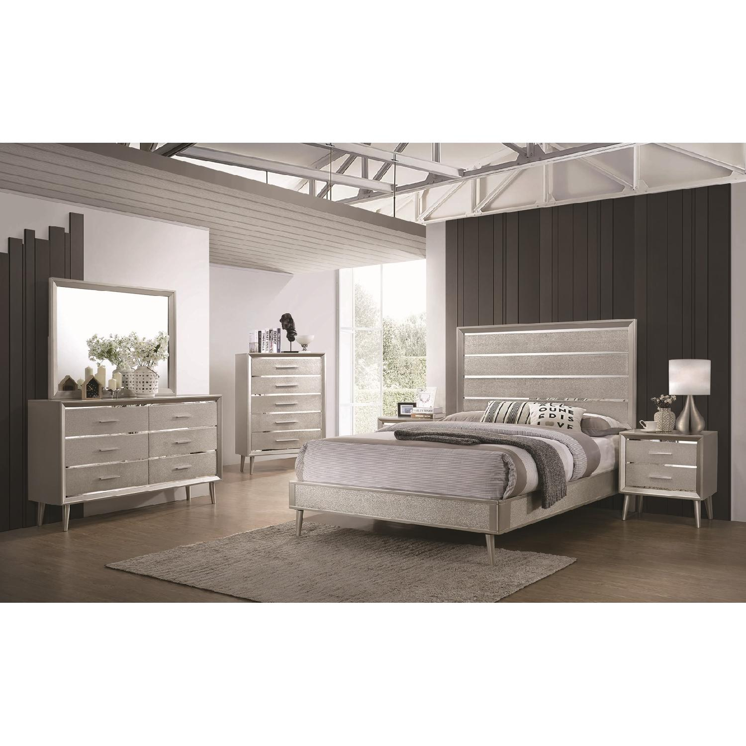 Mid Century Style King Bed in Metallic Silver Glitter Design - image-7