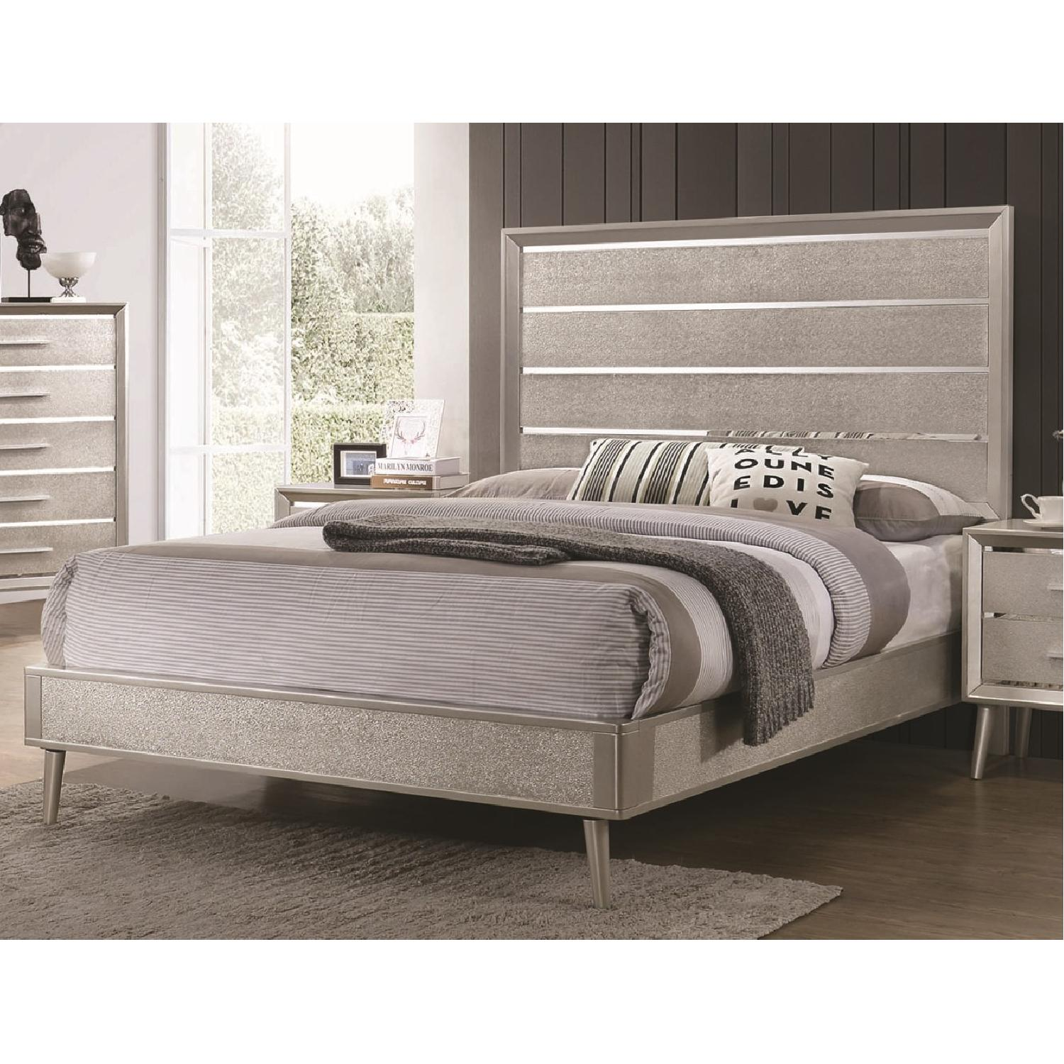 Mid Century Style King Bed in Metallic Silver Glitter Design - image-8