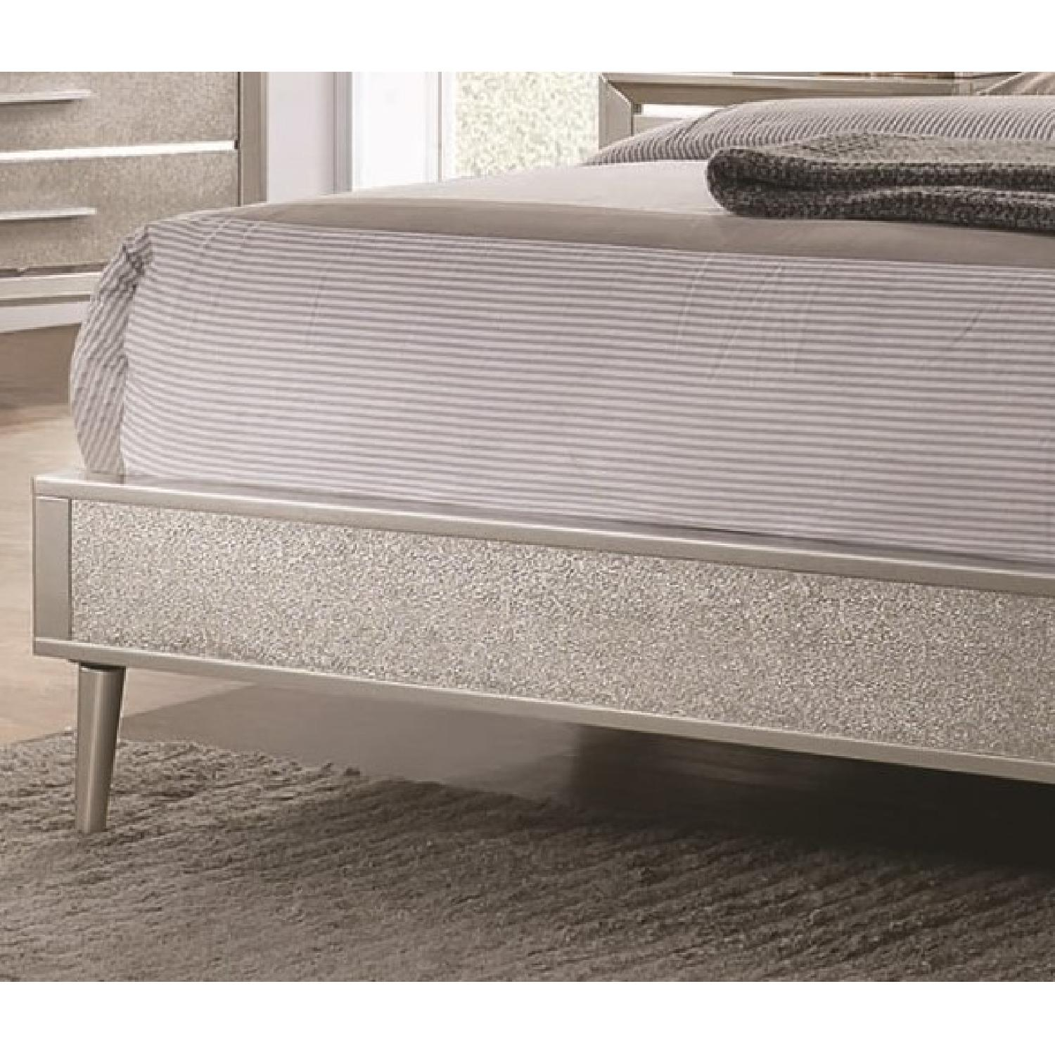 Mid Century Style King Bed in Metallic Silver Glitter Design - image-9