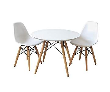 Coavas White Round Dining Table w/ 2 Chairs