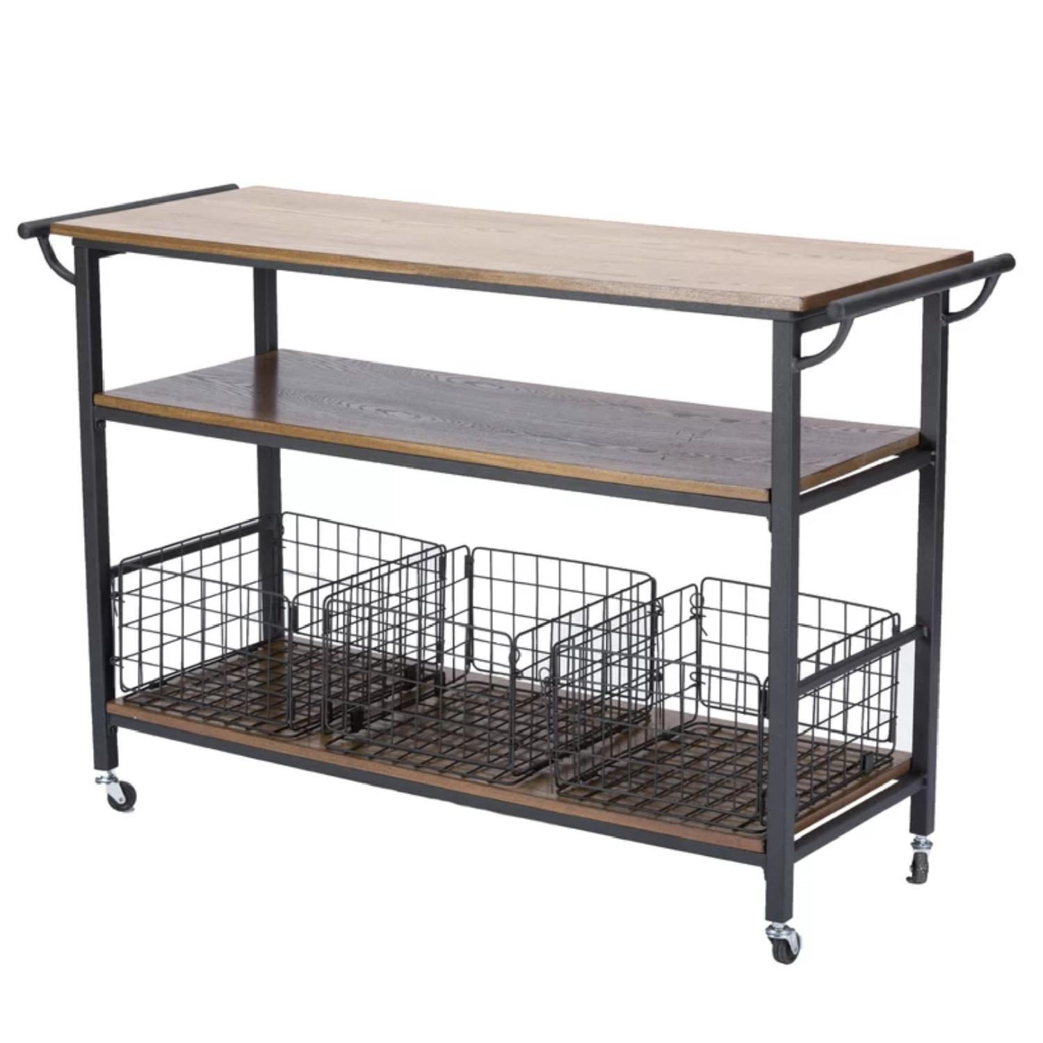 Laurel Foundry Fresnay Kitchen Island w/ Wooden Top