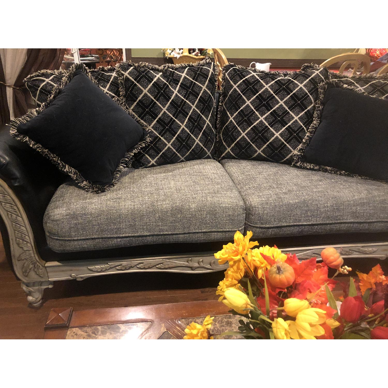 Jennifer Convertibles Leather & Fabric Sofa - image-0
