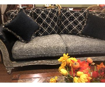 Jennifer Convertibles Leather & Fabric Sofa