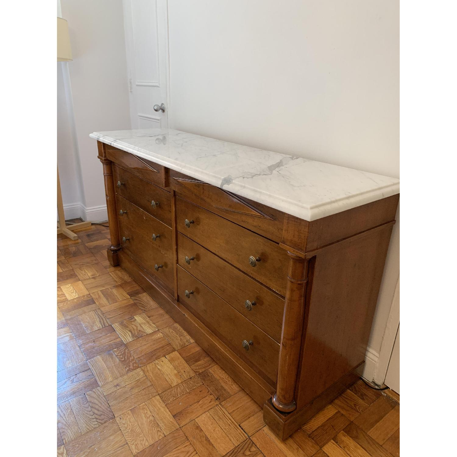 Bloomingdale's Statuary Marble Top Wood 8-Drawer Dresser - image-3