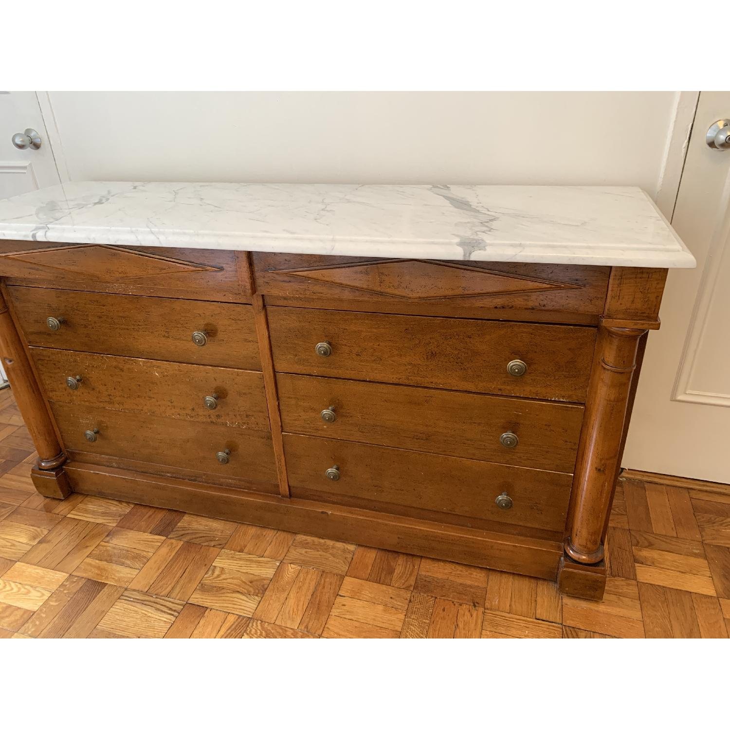 Bloomingdale's Statuary Marble Top Wood 8-Drawer Dresser - image-0