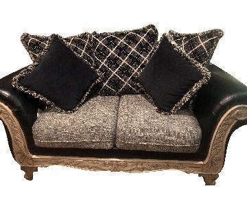 Jennifer Convertibles Leather & Fabric Loveseat