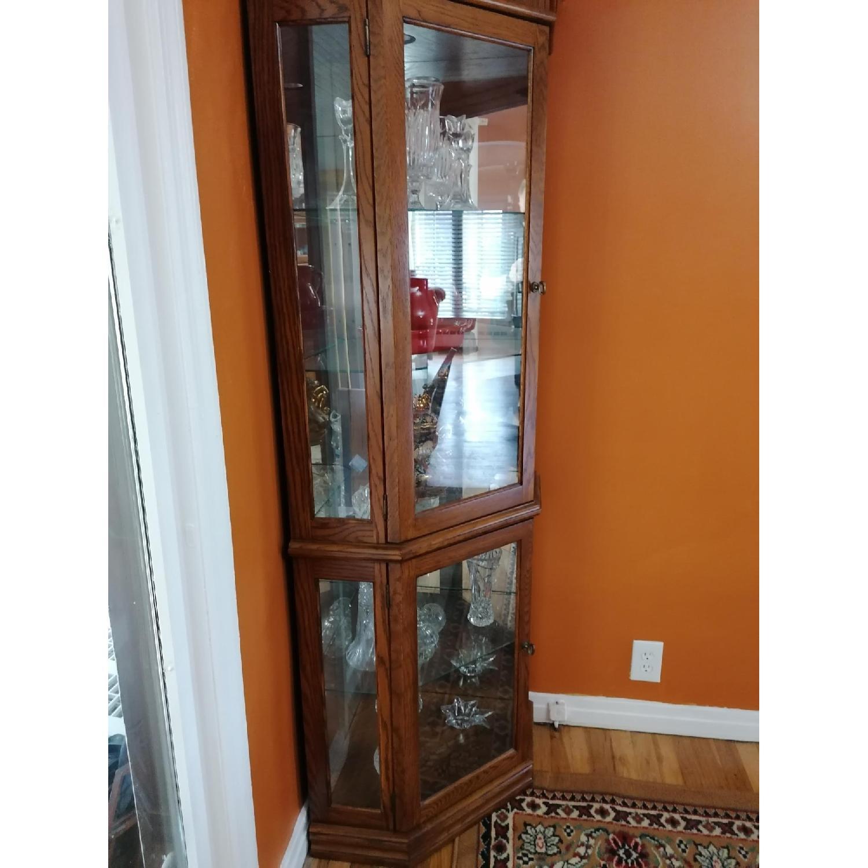 Raymour & Flanigan Corner Vitrine Glass & Wood Cabinet - image-1
