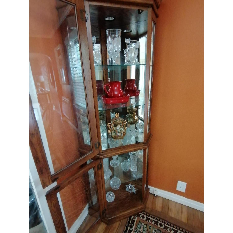 Raymour & Flanigan Corner Vitrine Glass & Wood Cabinet - image-2