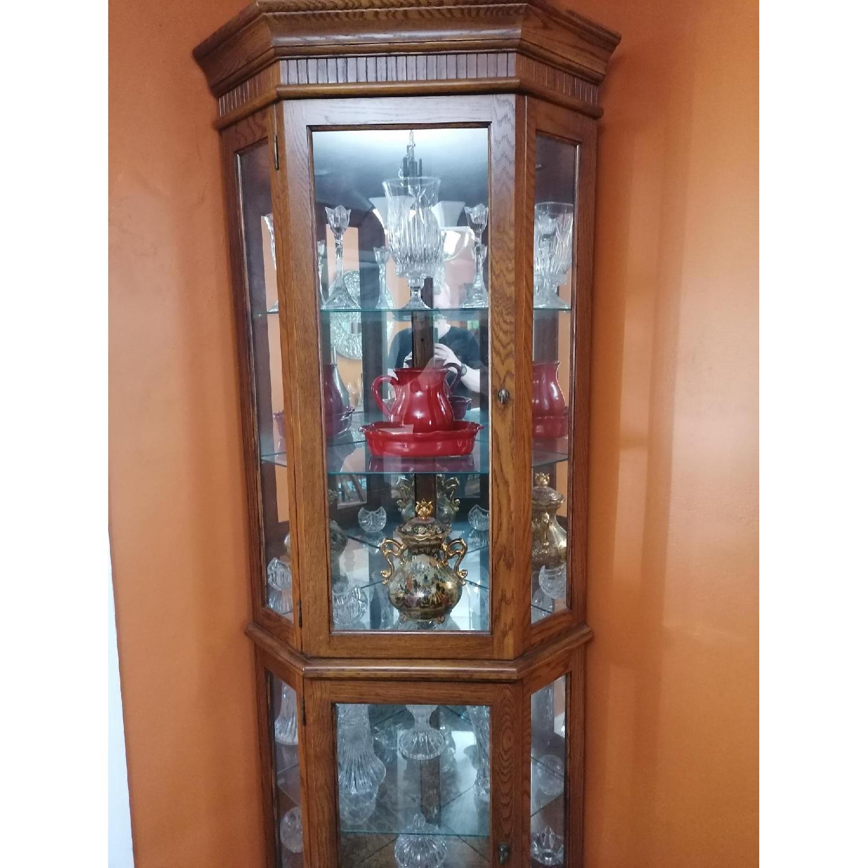 Raymour & Flanigan Corner Vitrine Glass & Wood Cabinet - image-3