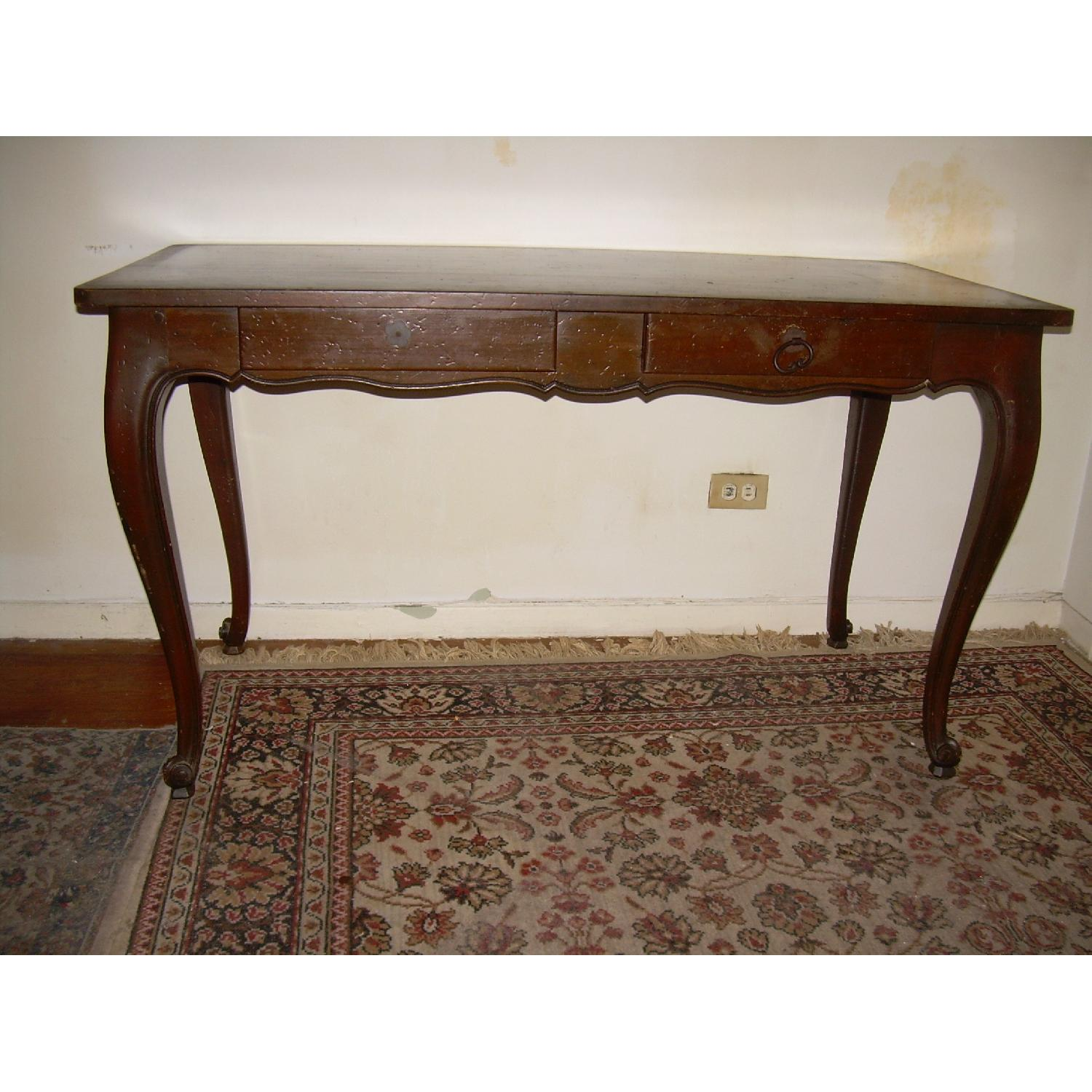 Vintage Brown Wood Entryway/Console Table - image-1