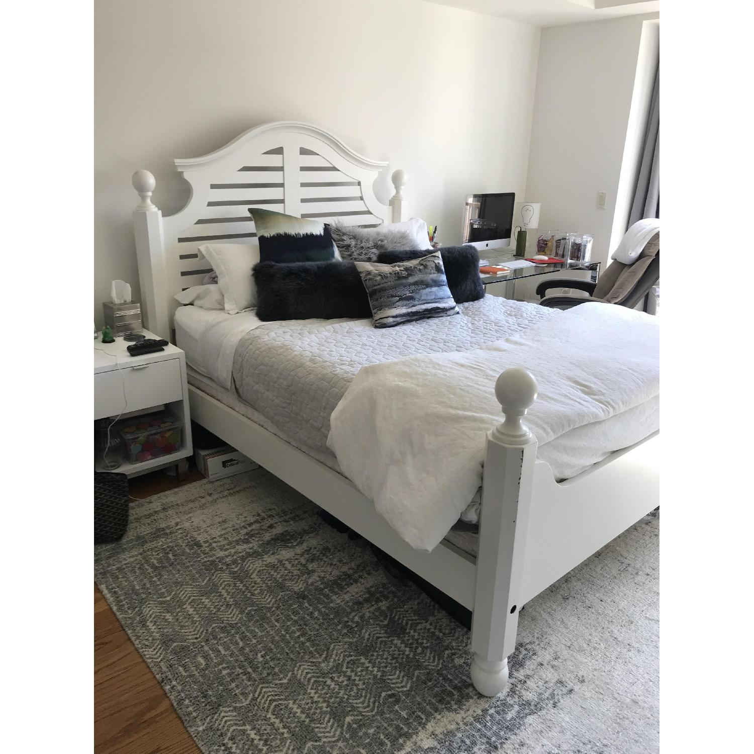 Pottery Barn Classic Queen White Wooden Bed Frame - image-2