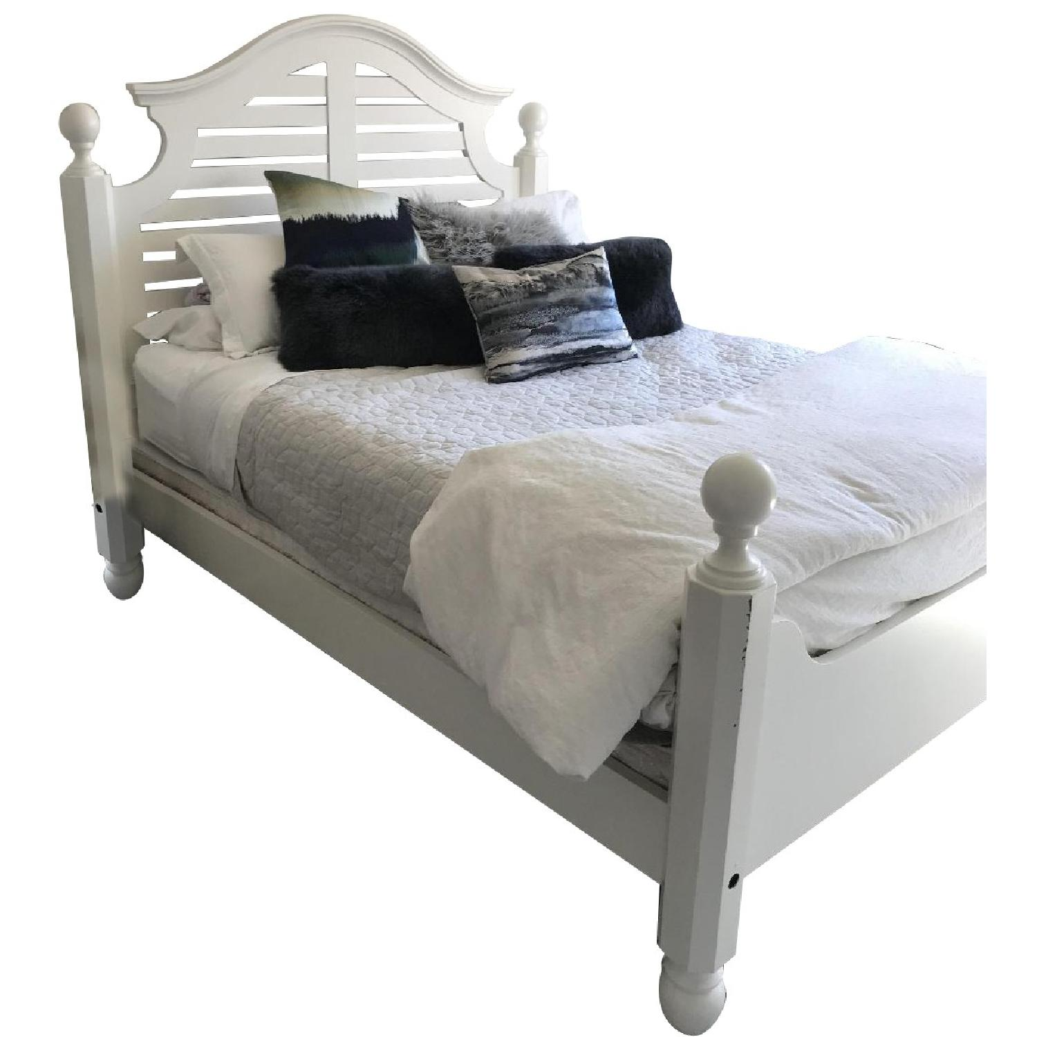 Pottery Barn Classic Queen White Wooden Bed Frame - image-0