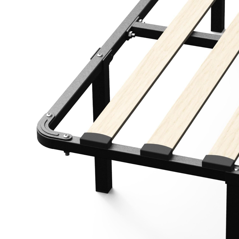 Metal Full Size Bed Frame w/ Wooden Slats
